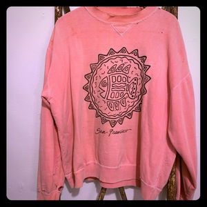 Distressed vintage San Francisco pink sweater